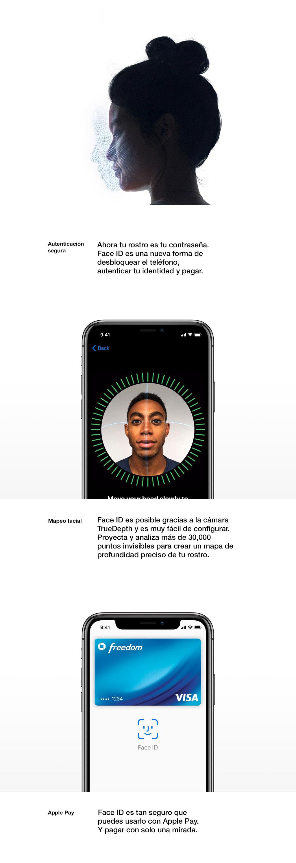 Tu rostro ahora es tu contraseña. Face ID es una manera nueva y segura de desbloquear, autenticar y pagar.