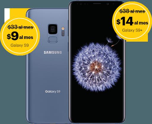 Samsung Galaxy S9 por $9/mes y Samsung Galaxy S9+ por $14/mes.