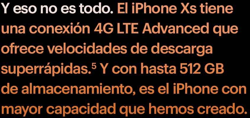 Y esto. El iPhone XS tiene una conexión LTE Gigabit que ofrece velocidades de descarga superrápidas.5 Y con hasta 512 GB de almacenamiento, es el iPhone de Apple con mayor capacidad hasta ahora.