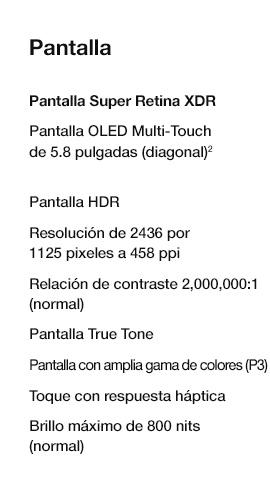 especificaciones de pantalla