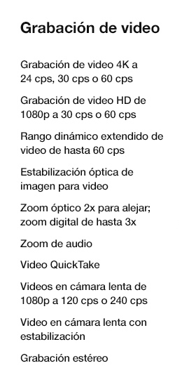 especificaciones de video